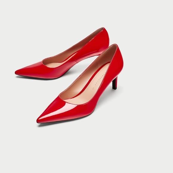 eeb24e41fad Zara Red mid-heel pointed-toe faux patent heels NWT